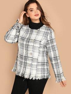 Plus Frayed Edge Tweed Coat
