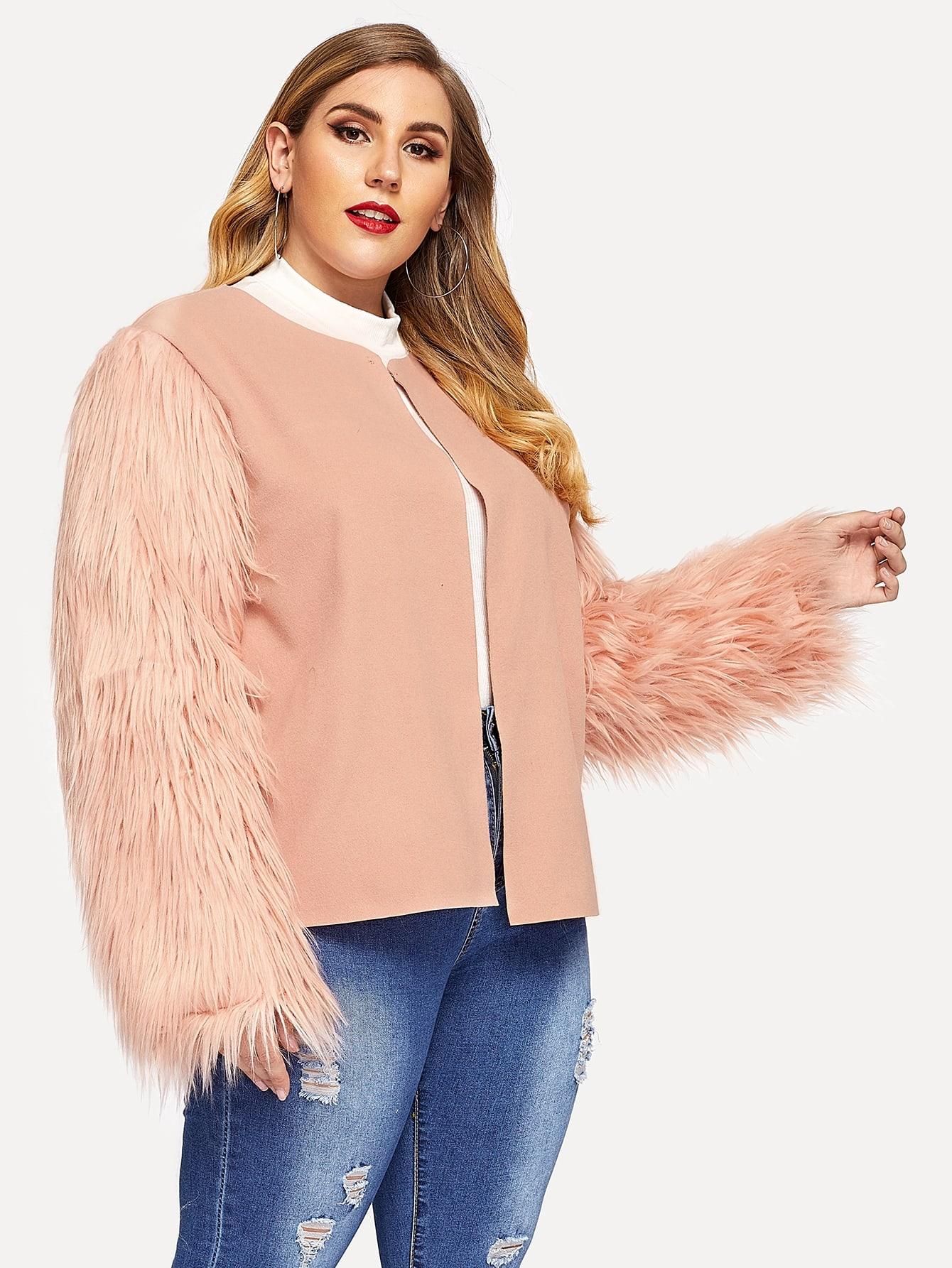 Купить Однотонное пальто с рукавом искусственного меха, Mafe, SheIn