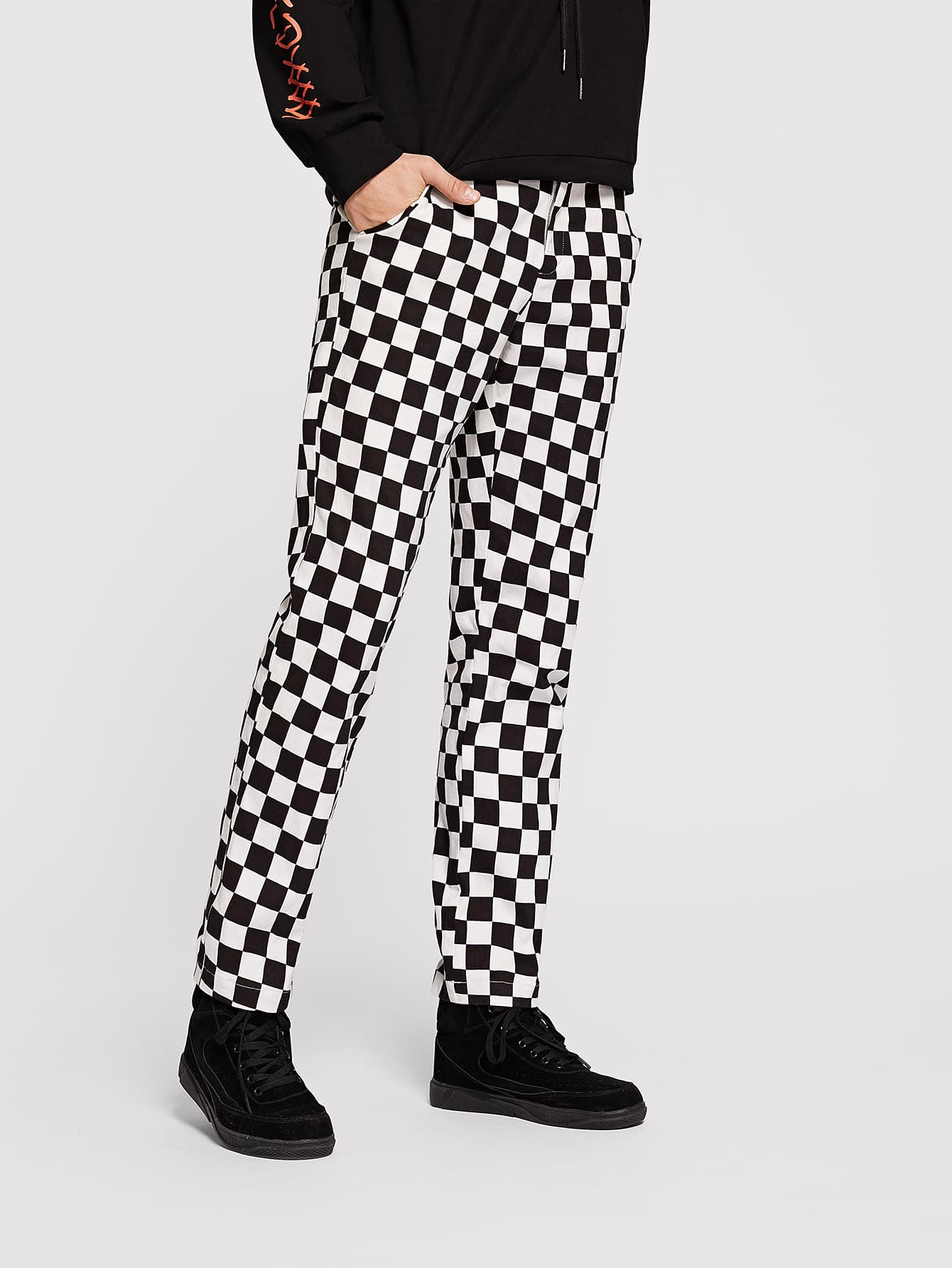 Купить Для мужчин брюки в клетку с кулиской, Misha, SheIn