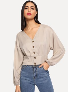 Crop Button Up Shirred Back Blouse