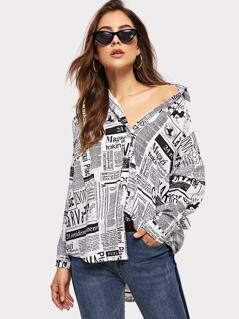 Newspaper Print Curved Hem Shirt