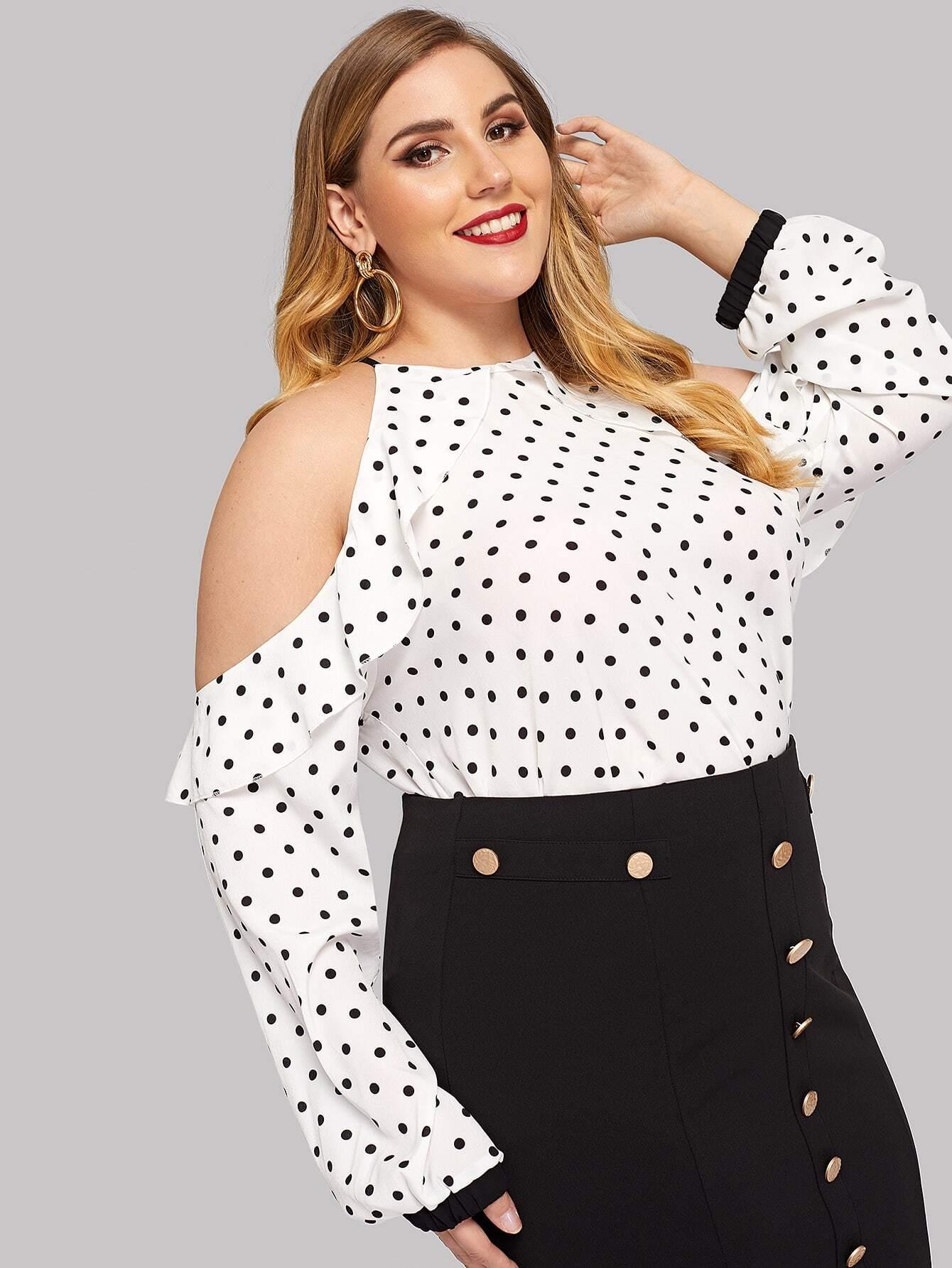 Купить Блуза в горошек с открытыми плечами размера плюс, Mafe, SheIn