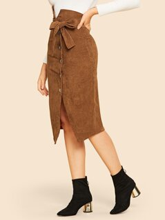 Notched Waist Button Front Corduroy Skirt With Belt