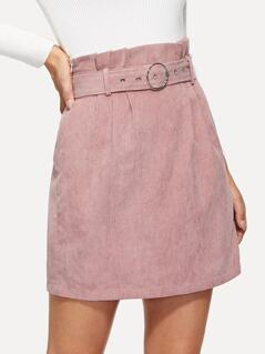 O-Ring Belted Waist Corduroy Skirt