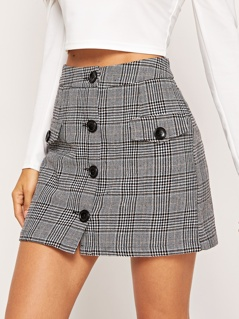 Button Up Flap Pocket Plaid Skirt