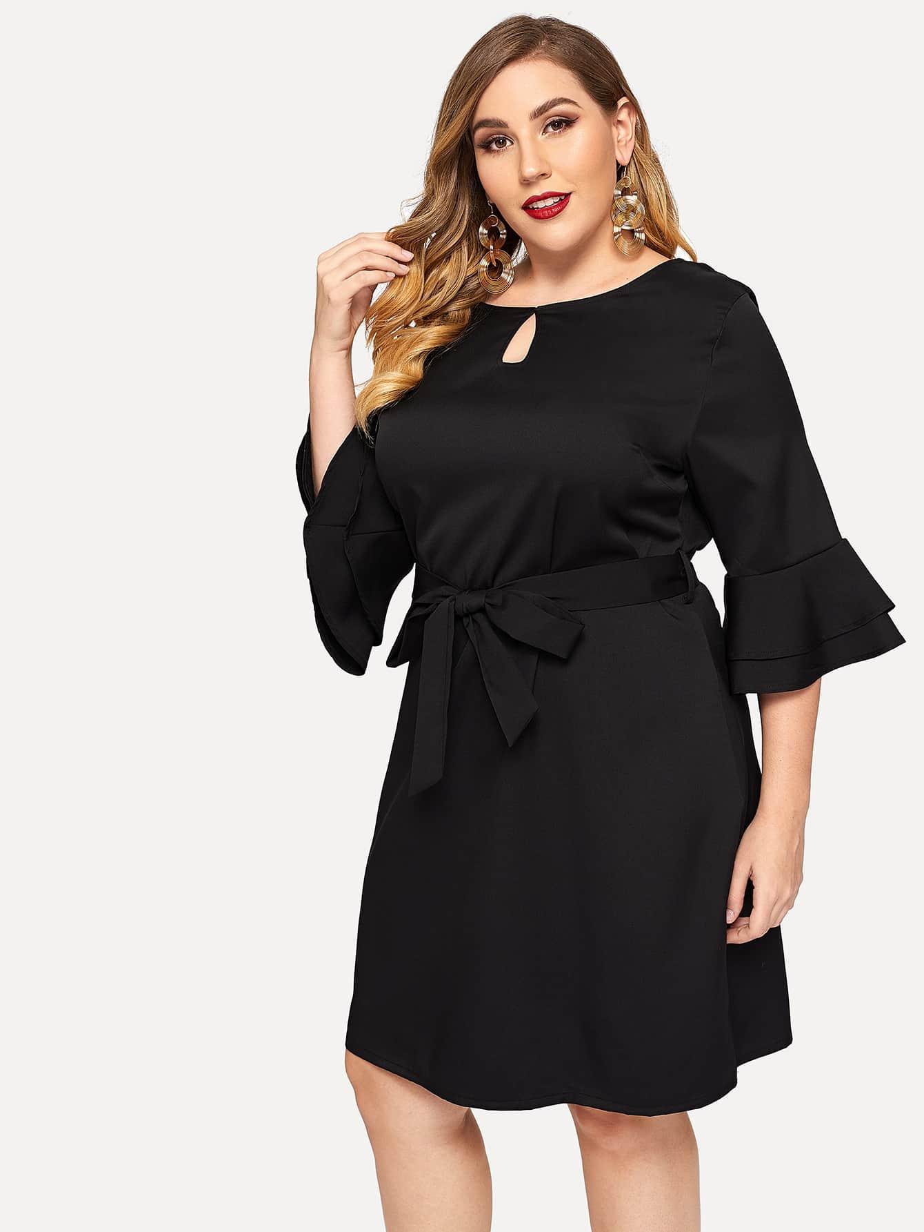 Купить Размера плюс платье рукава с розеткой, Mafe, SheIn