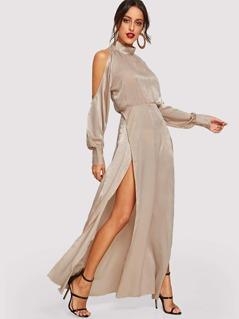 Cold Shoulder Mock-Neck Solid Dress