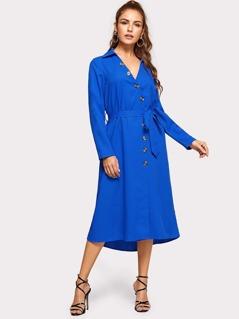 Surplice Neck Button Trim Dress