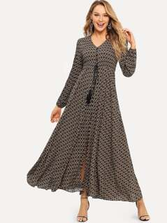 Geo Print Button Up Dress