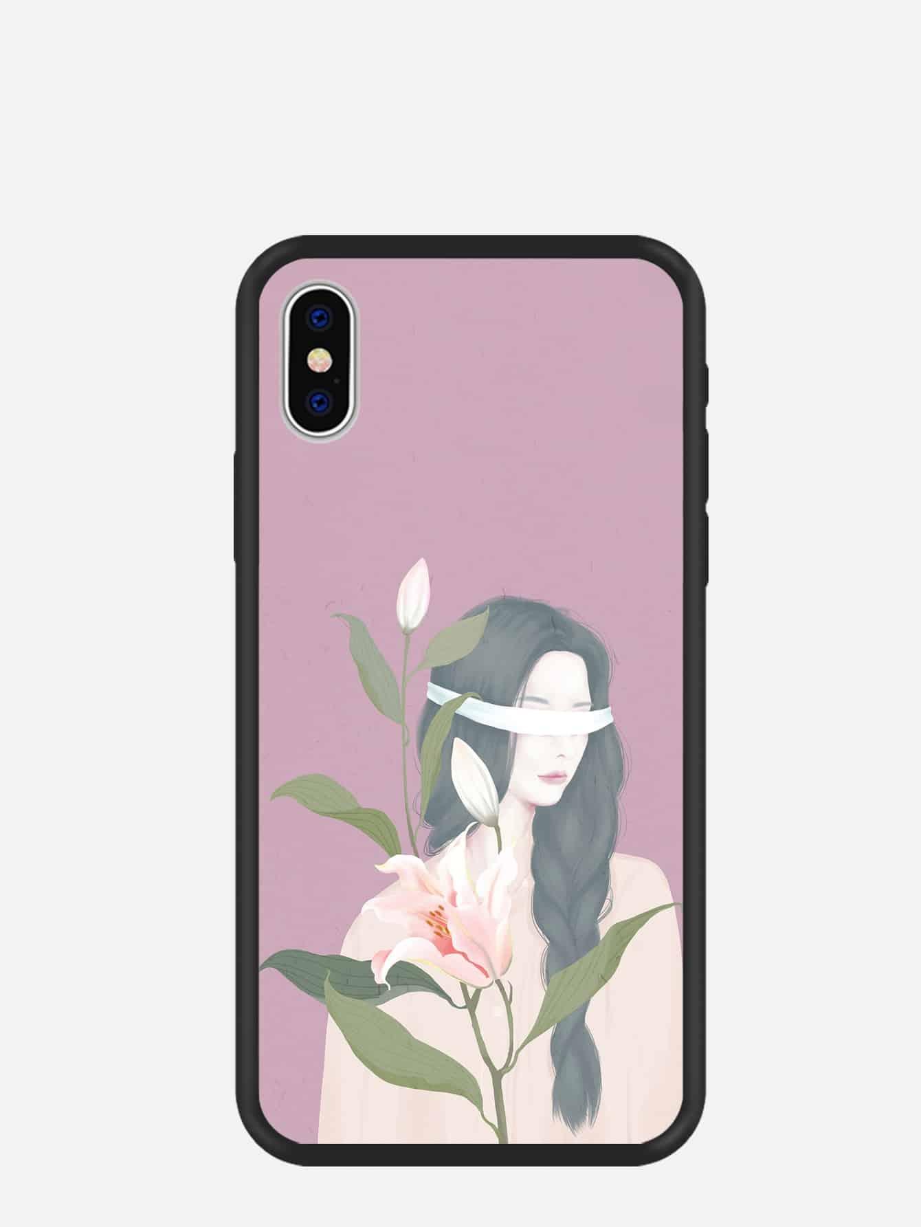Купить Девушка цветок узор чехол для iPhone, null, SheIn