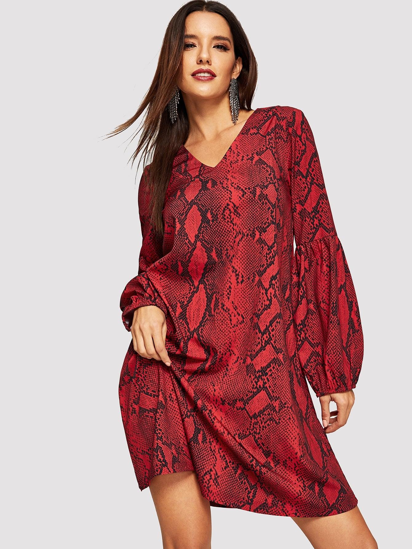 Купить Платье с змеиным принтом и v-образным вырезом, Juliana, SheIn
