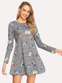 Plaid & Calico Print Dress