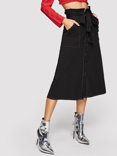 Self Belted Button Up Skirt