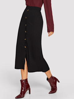 Button Front Rib Knit Pencil Skirt