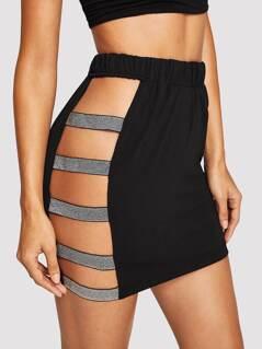 Laddering Cut Glitter Tape Side Skirt