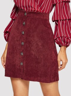 Slant Pocket Button Up Corduroy Skirt