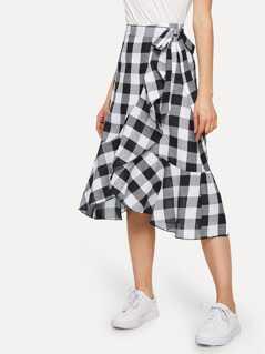 Ruffle Trim Gingham Skirt
