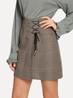 Lace Up Plaid Skirt