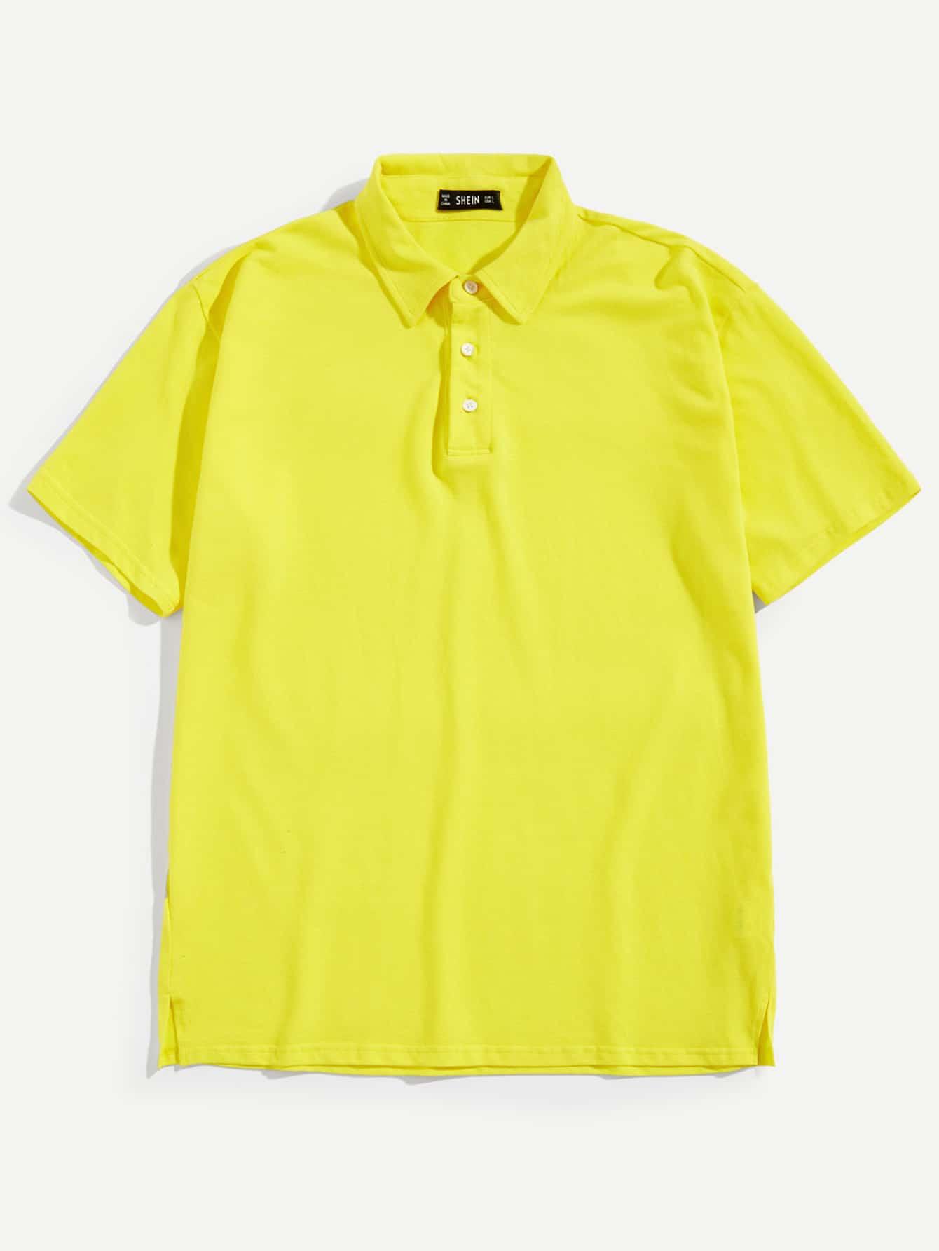 Купить Мужская однотонная поло рубашка с пуговицами, null, SheIn