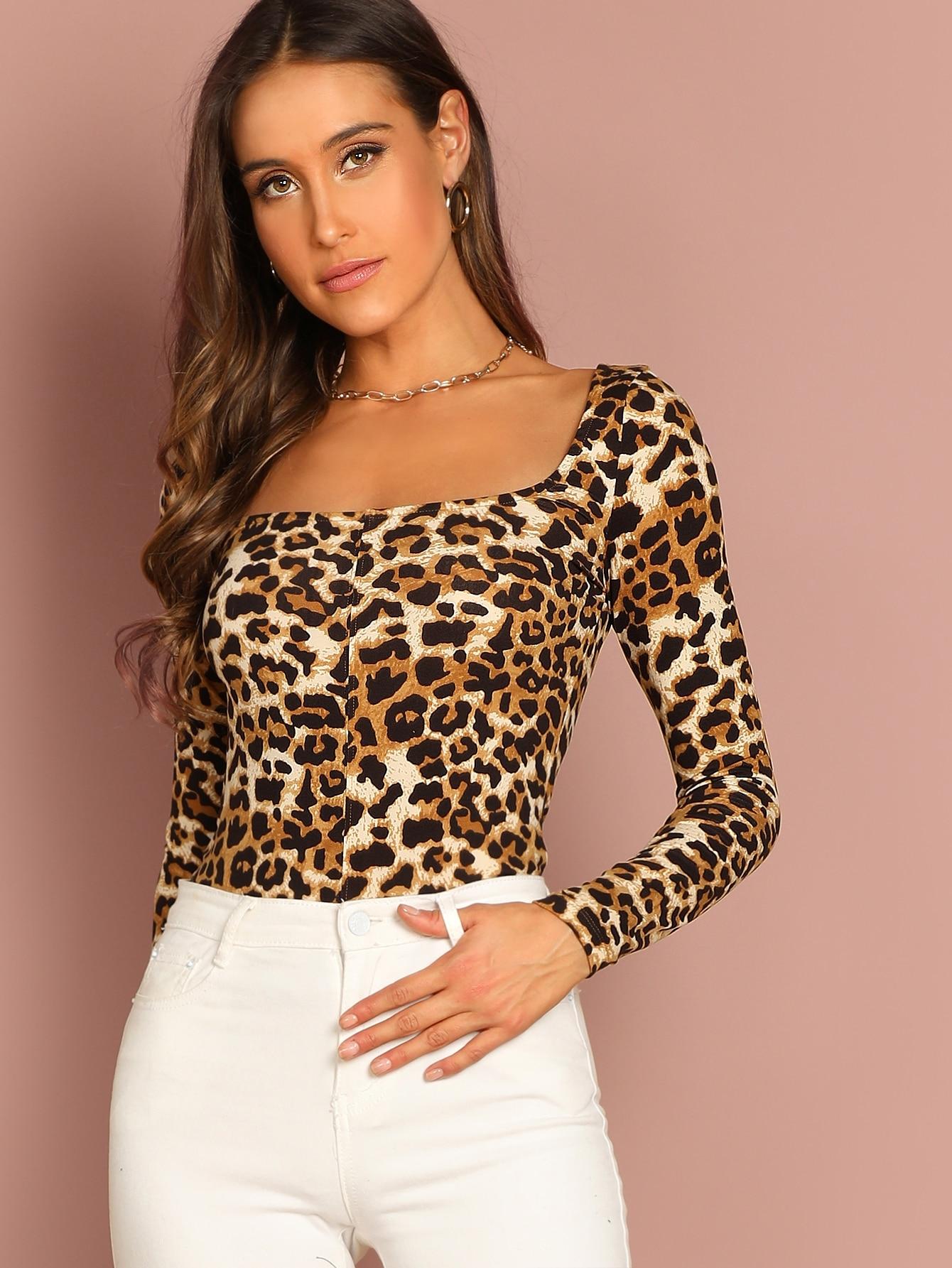 Купить Леопардовая футболка с квадратным воротником, Anna Herrin, SheIn