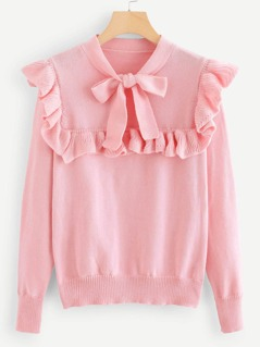 Bow Tie Neck Ruffle Sweater