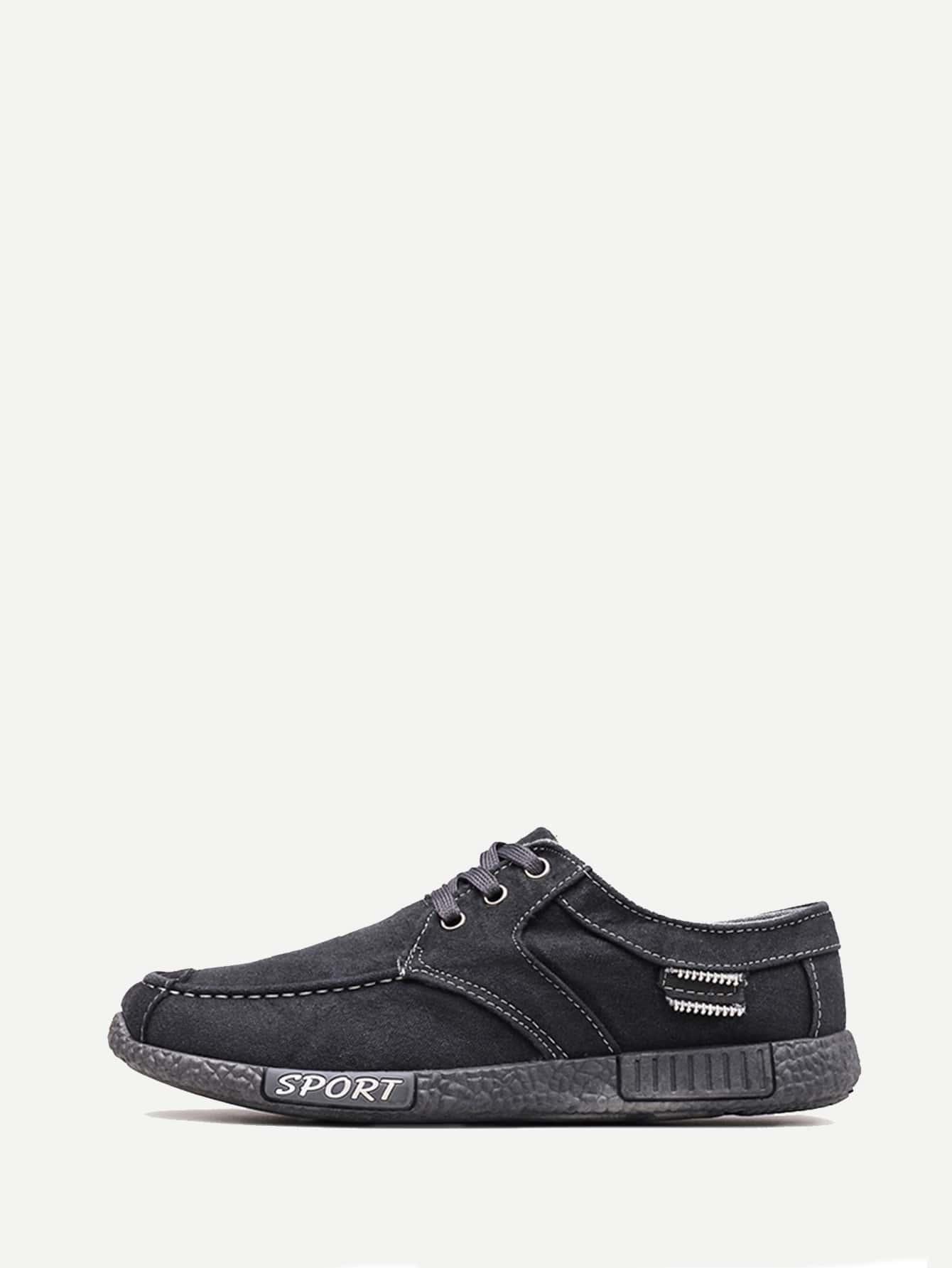 Купить Мужская джинсовая спортивная обувь с шнуровкой, null, SheIn