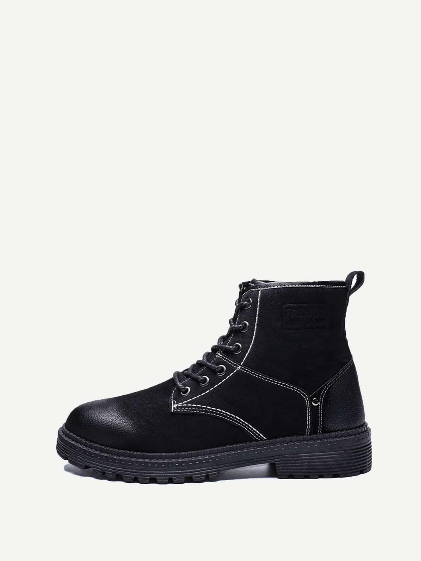 Купить Мужские сапоги с шнуровкой и искусственным мехом, null, SheIn