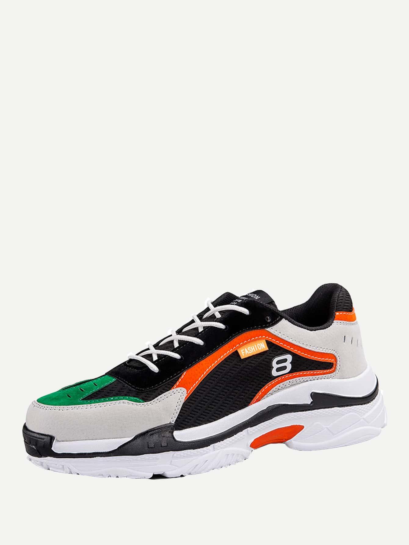 Купить Мужская контрастная спортивная обувь с шнуровкой, null, SheIn