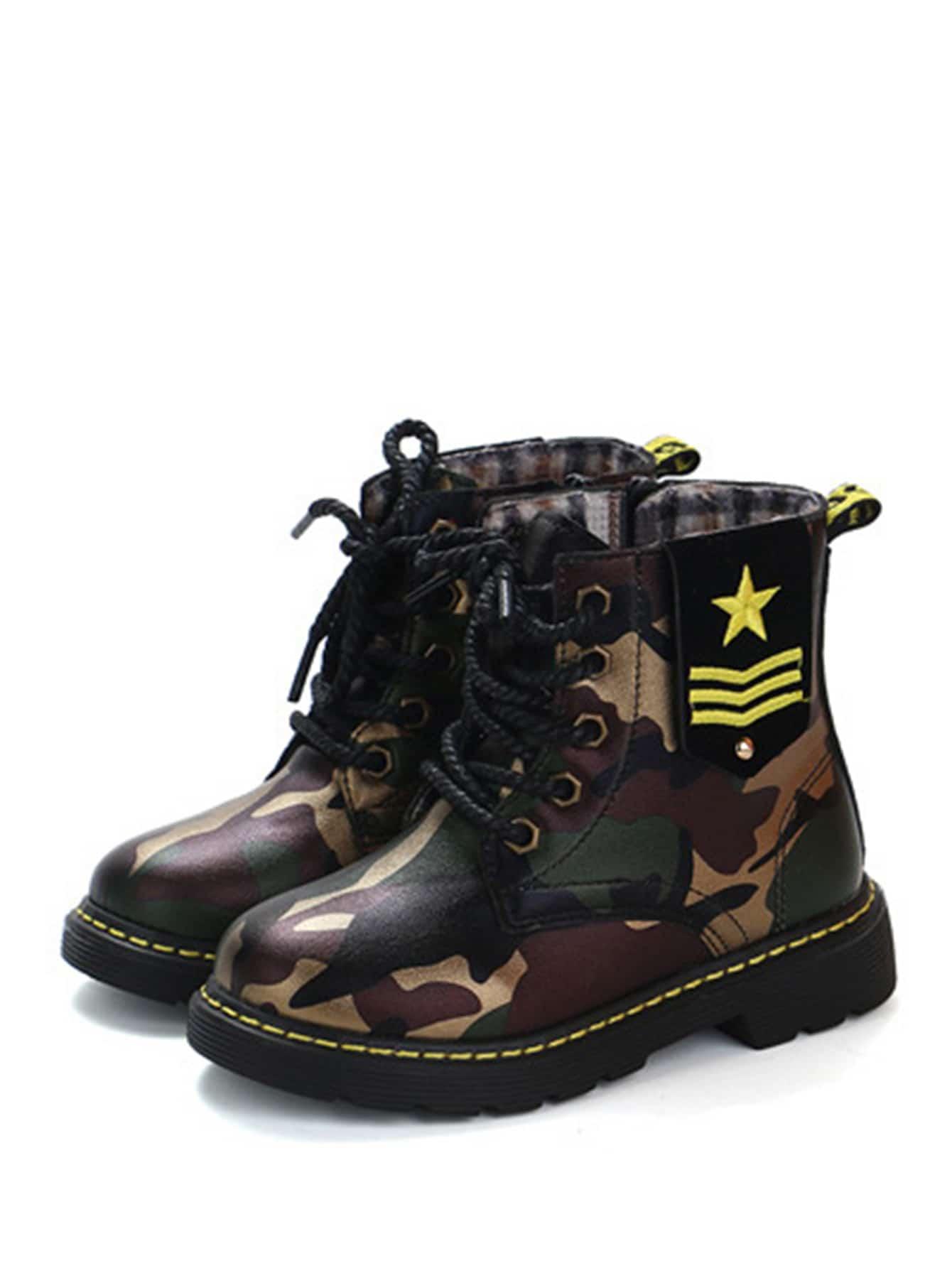 Купить Камуфляжные короткие сапоги с шнурками для маленьких детей, null, SheIn