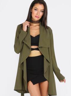 Army Green Lapel Tie Long Sleeve Outerwear