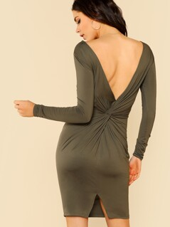 Twist V Back Slit Fitted Dress