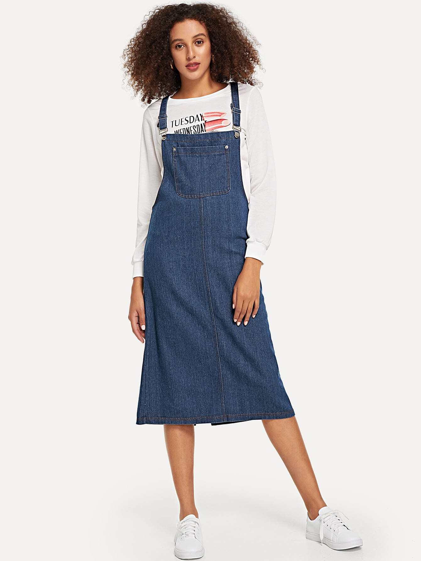 Купить Однотонное джинсовое платье с карманом, Elaine, SheIn