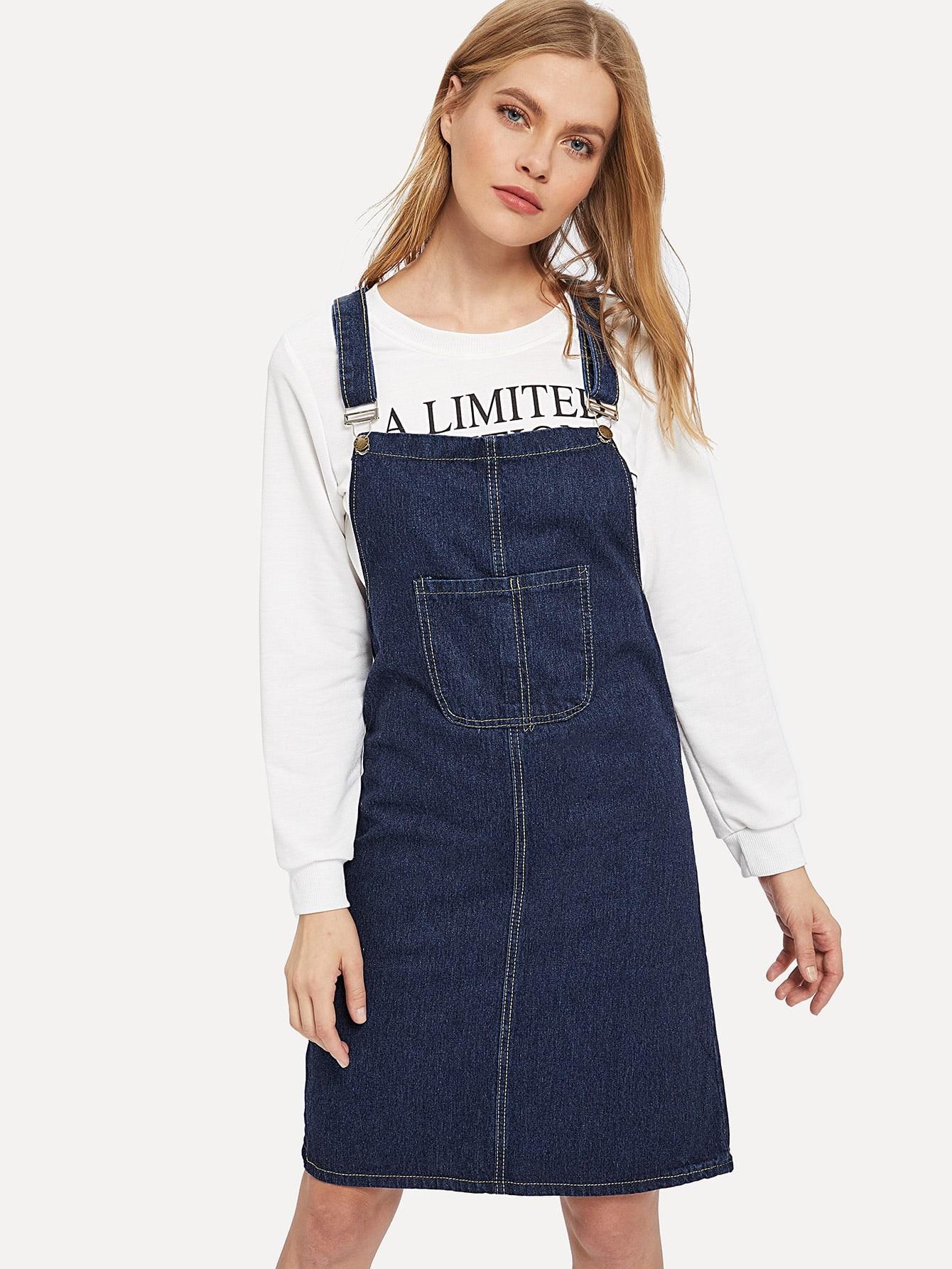Однотонное джинсовое платье с карманом SheIn