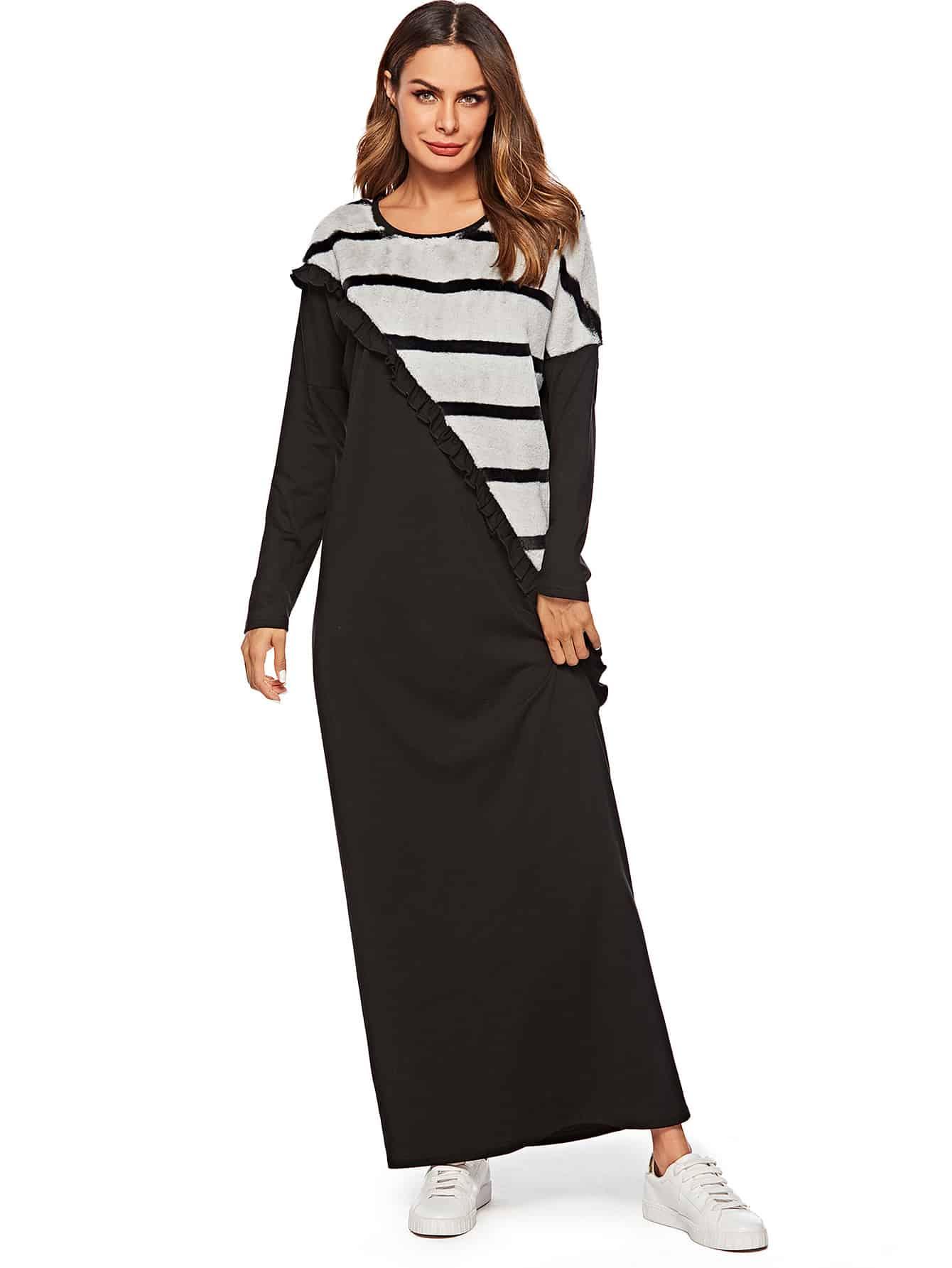 Купить Длинное платье с контрастным полосами искусственных мехов и заниженной линией плеч, null, SheIn