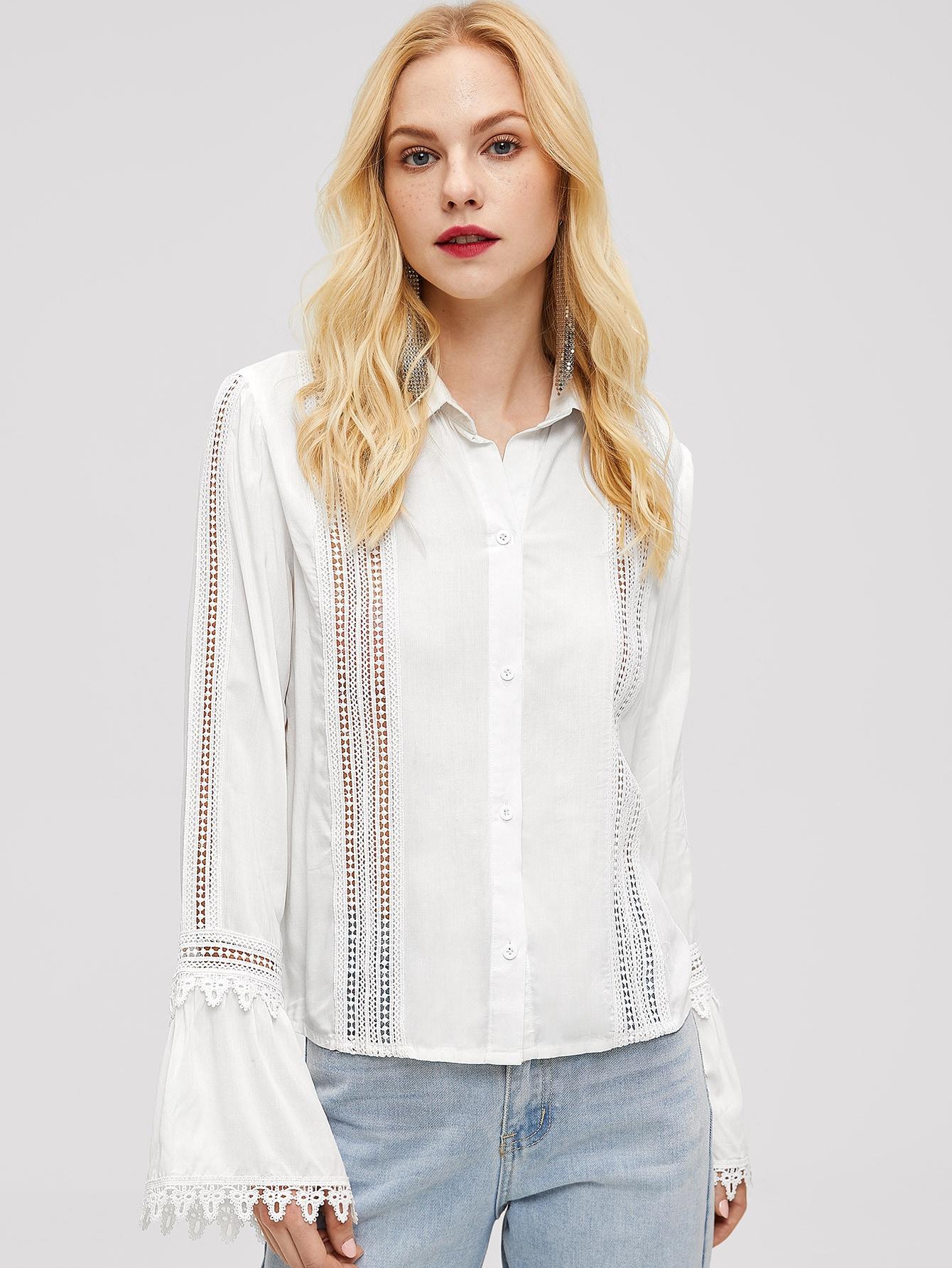 Купить Блузка с оригинальным рукавом и кружевом, Denisa, SheIn