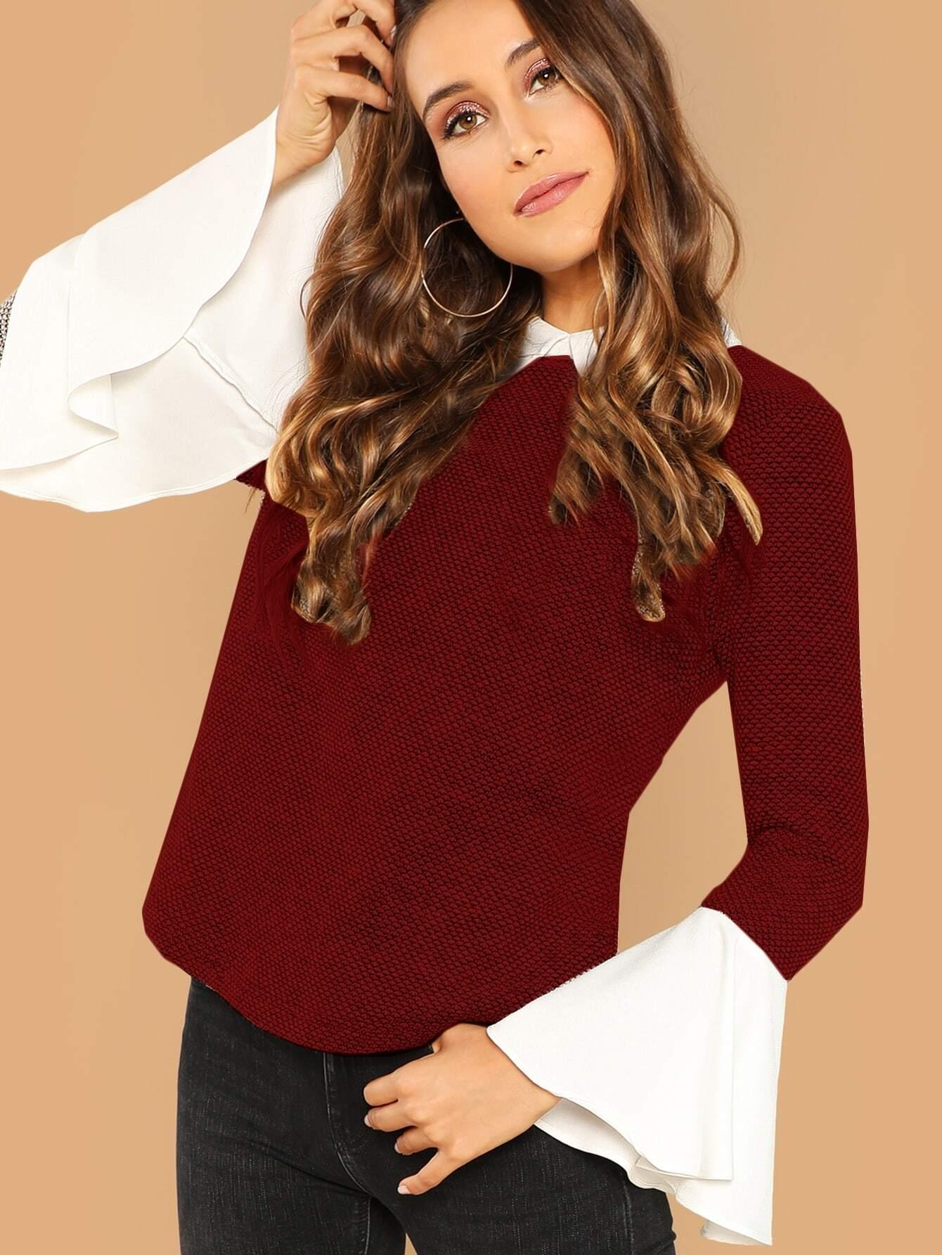 Купить Блуза с контрастным воротником и розеткой на рукавах, Anna Herrin, SheIn
