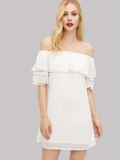 Pom Pom Detail Layered Ruffle Dress