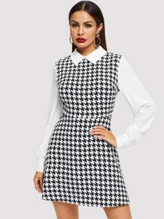 Contrast Collar and Sleeve Houndstooth Dress