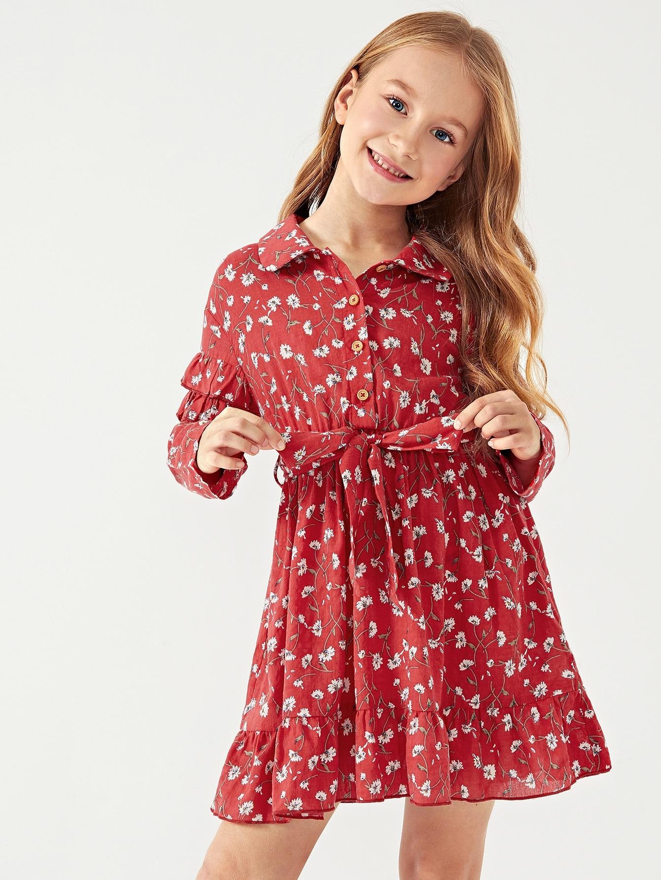 Купить Платье с пуговицами и кружевными оборками и принтом цветочным для девочек, Masha. P, SheIn