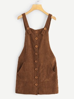 Corduroy Pocket Front Button Up Pinafore Dress