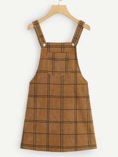 Bib Pocket Grid Corduroy Overall Dress
