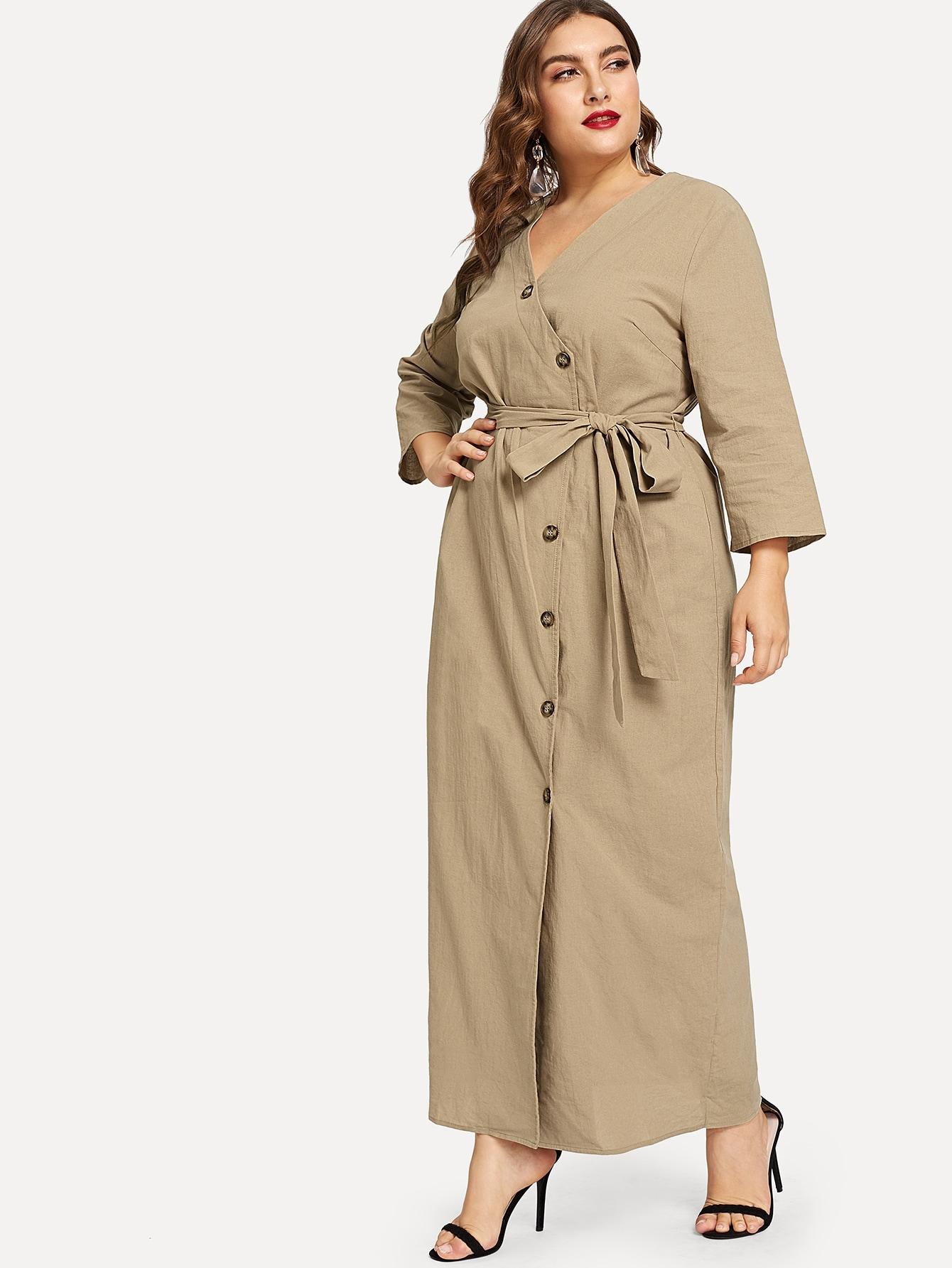 Купить Асимметричное платье с завязкой на талии, Franziska, SheIn