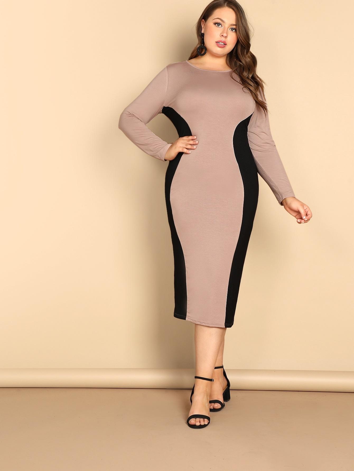 Купить Двухцветное платье размера плюс, Bailey Carr, SheIn