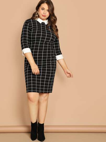 Plus Contrast Collar and Cuff Grid Dress
