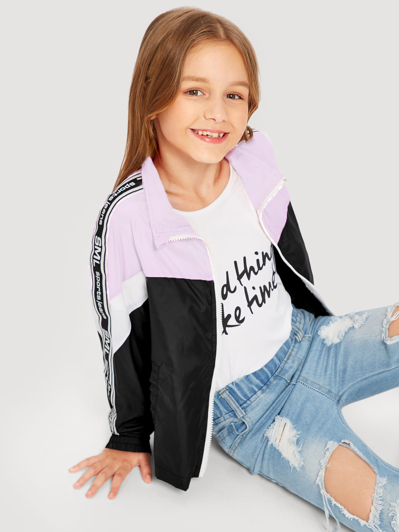 Купить Контрастная куртка на молнии для девочек, Sashab, SheIn