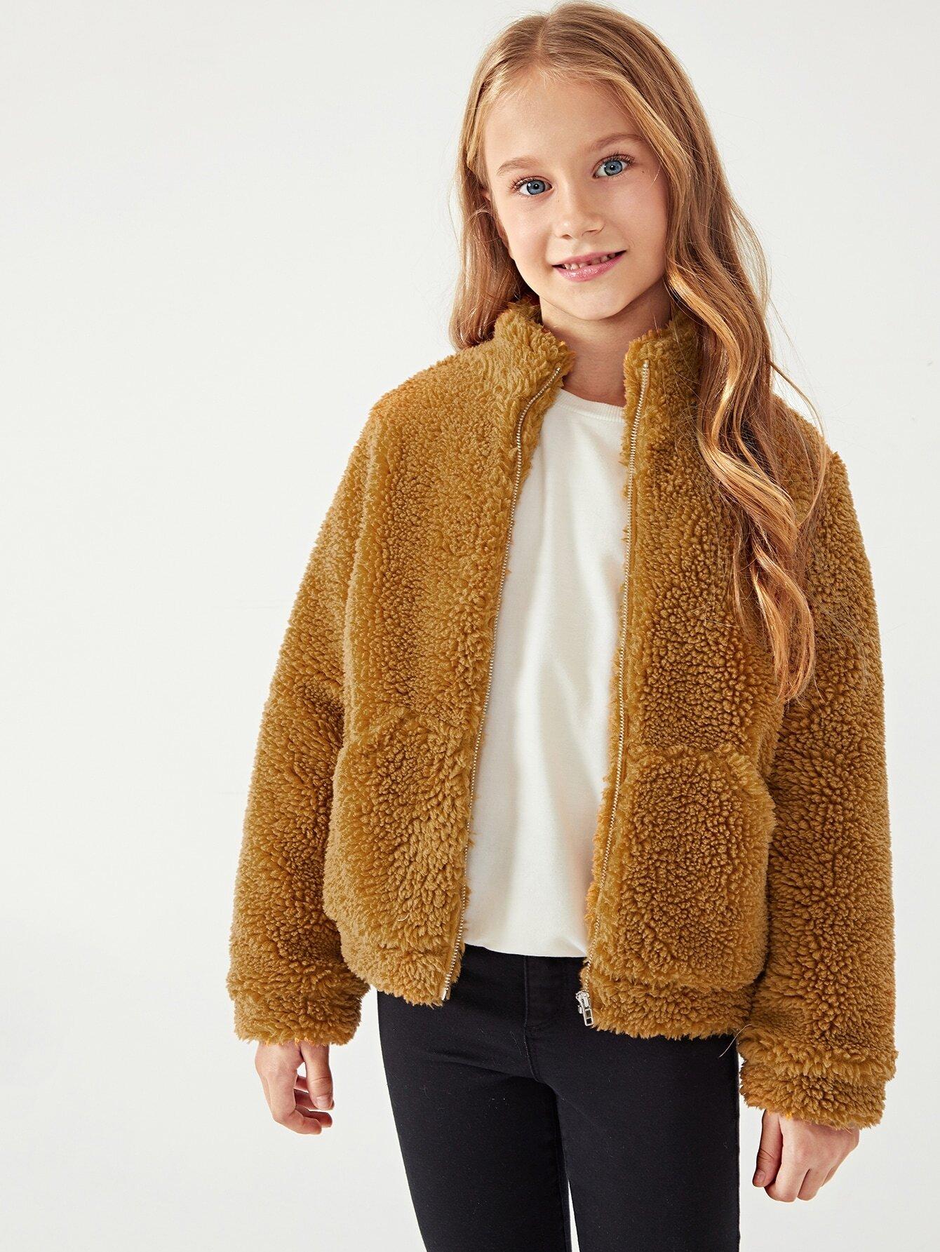 Купить Плюшевая куртка на молнии для девочек, Masha. P, SheIn