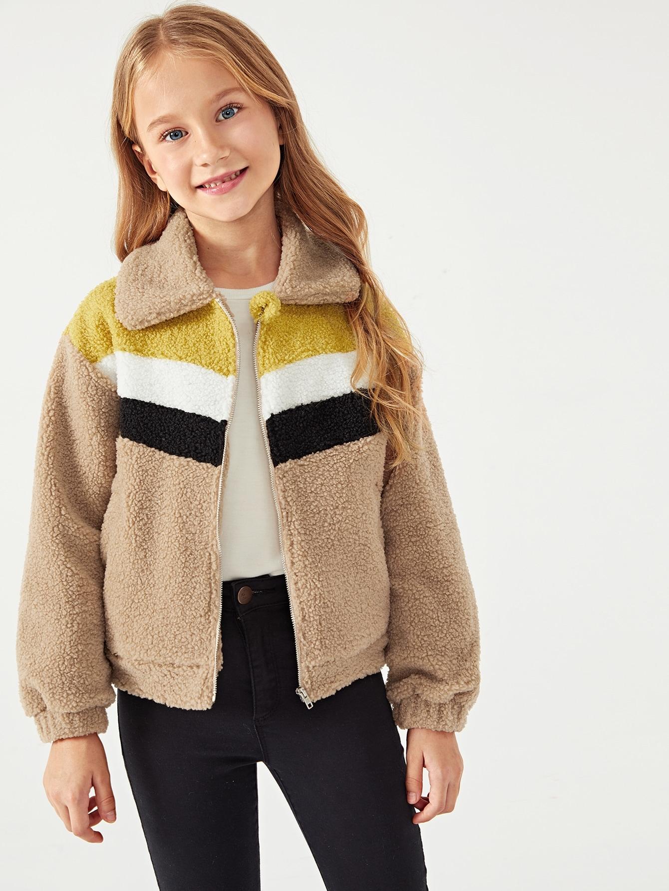 Купить Контрастная плюшевая куртка на молнии для девочек, Masha. P, SheIn