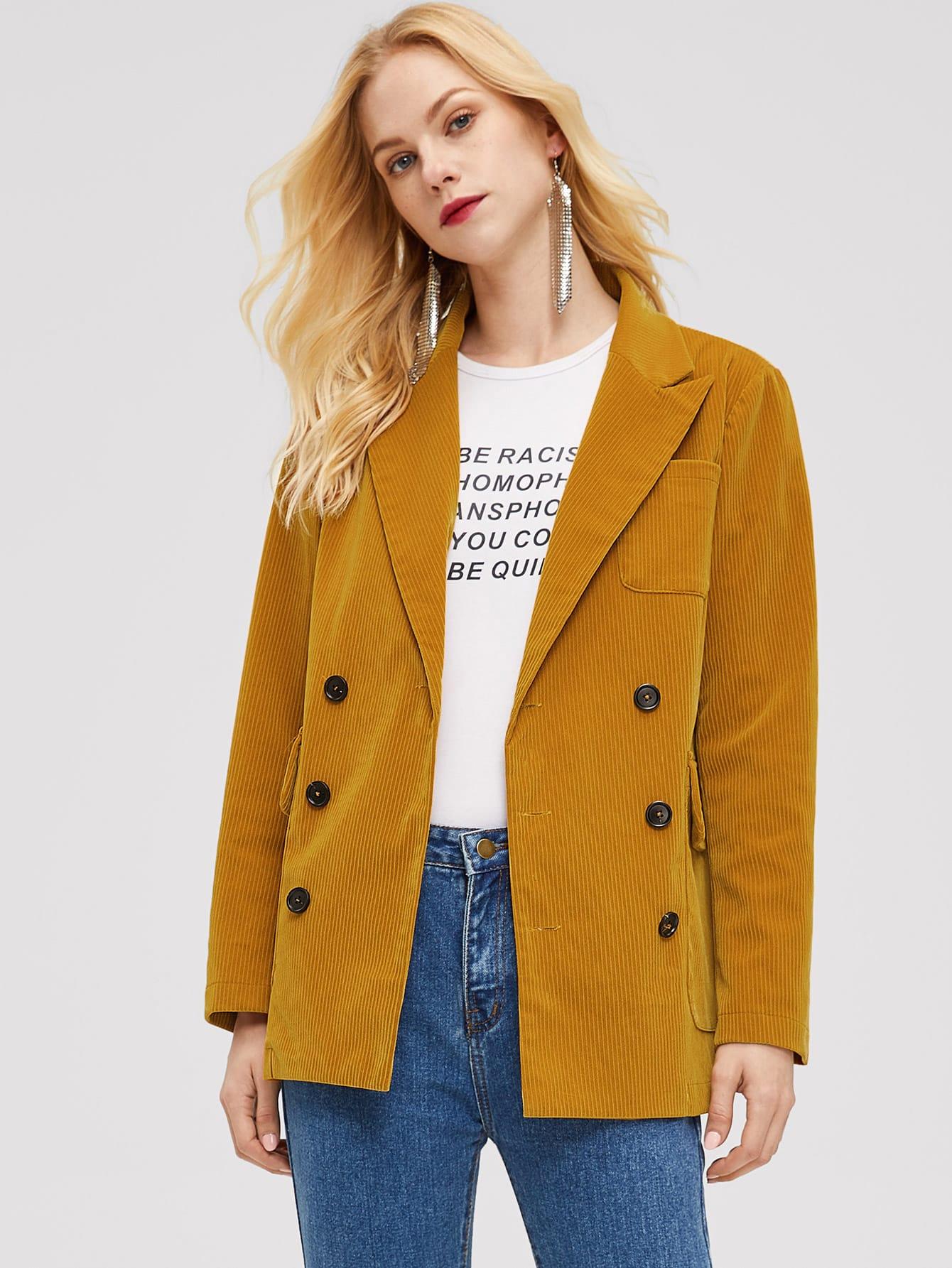 Купить Двубортное вельветовое пальто с карманом, Denisa, SheIn