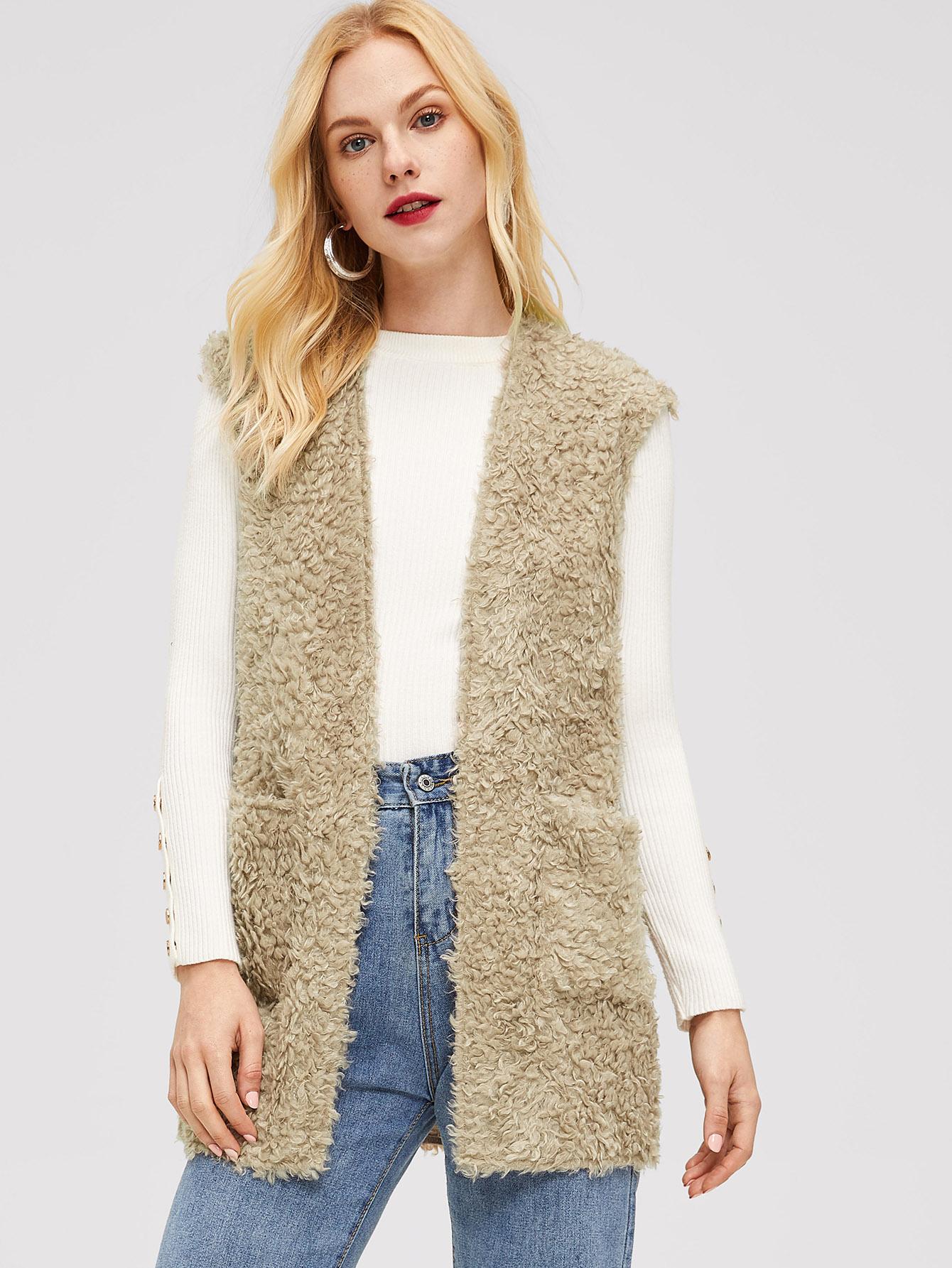 Плюшевое пальто без рукавов с карманом