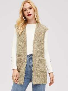 Pocket Front Sleeveless Teddy Coat